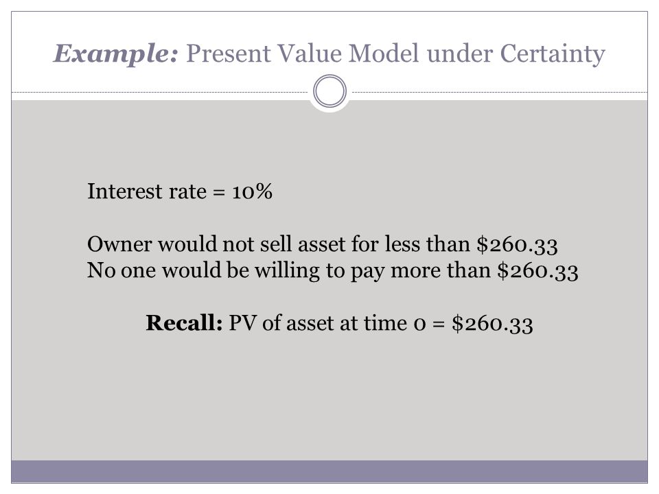 Example: Present Value Model under Certainty