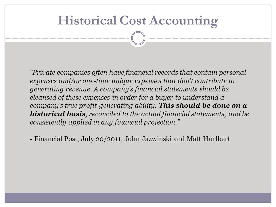 Historical Cost Accounting