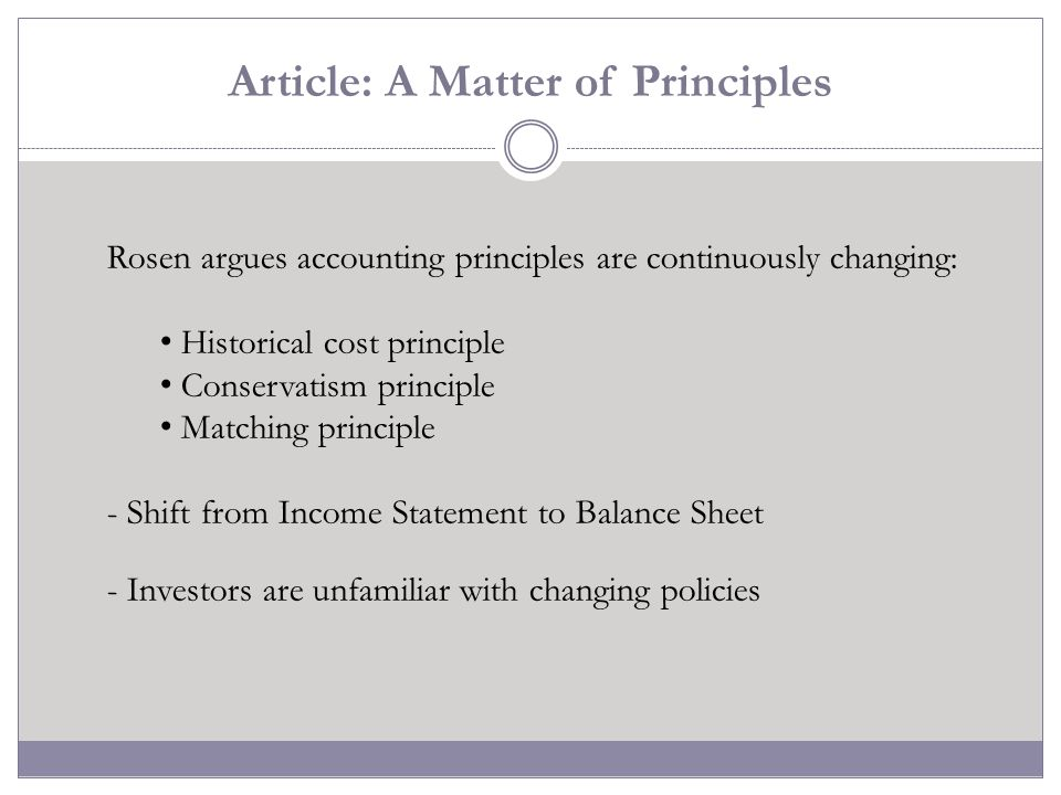 Article: A Matter of Principles