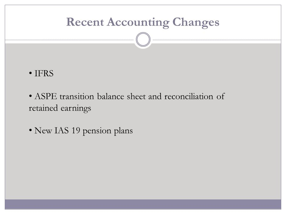 Recent Accounting Changes