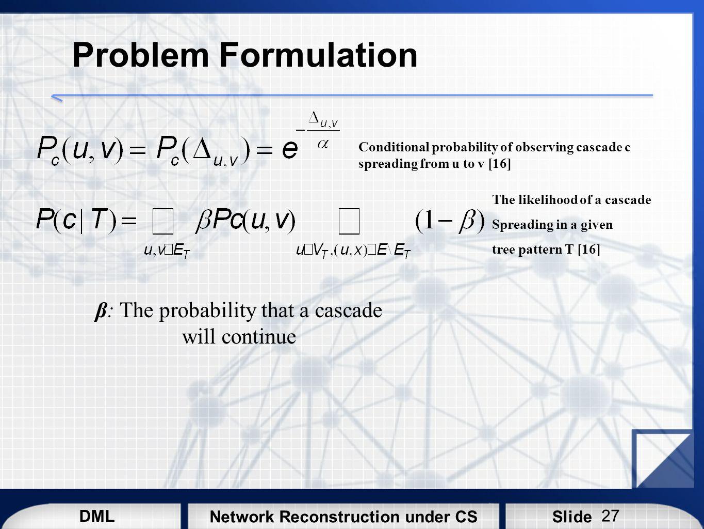 β: The probability that a cascade