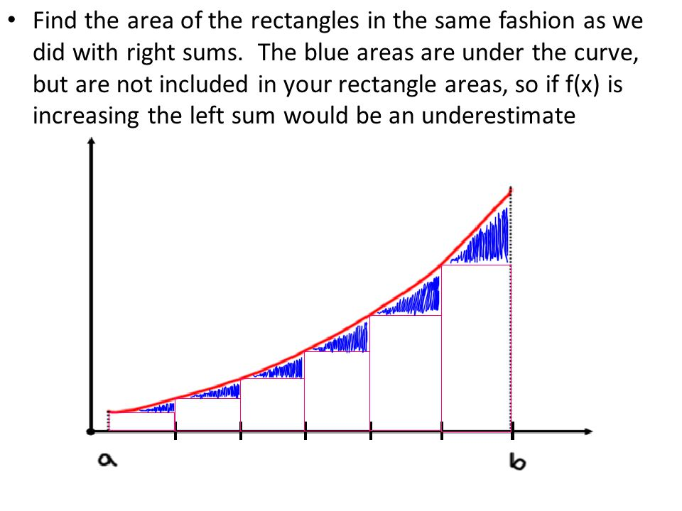 Find the area of the rectangles in the same fashion as we did with right sums.