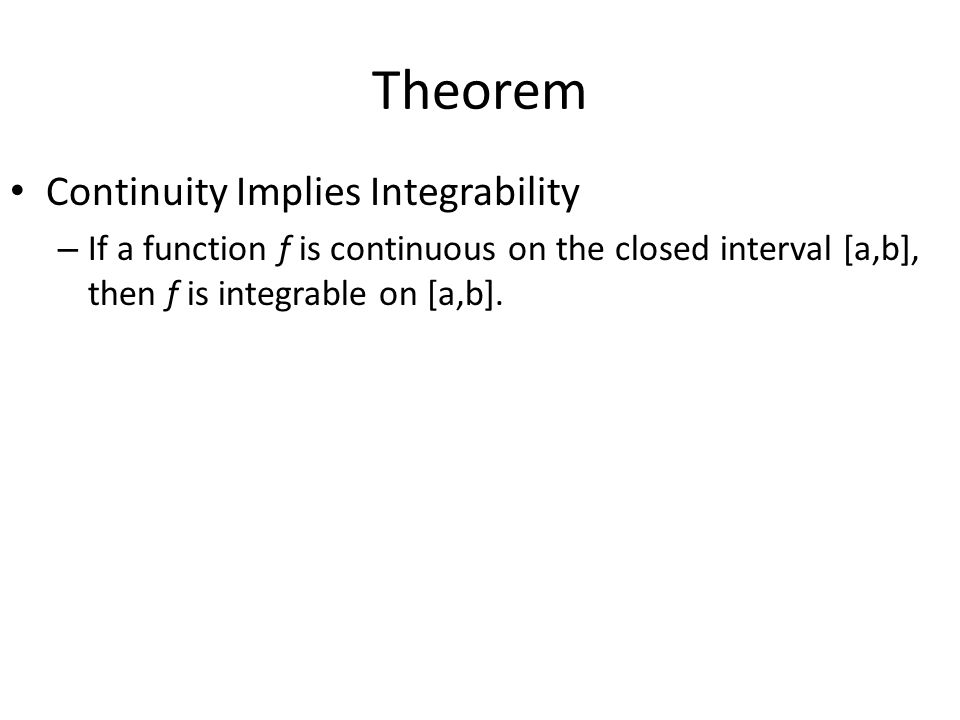 Theorem Continuity Implies Integrability