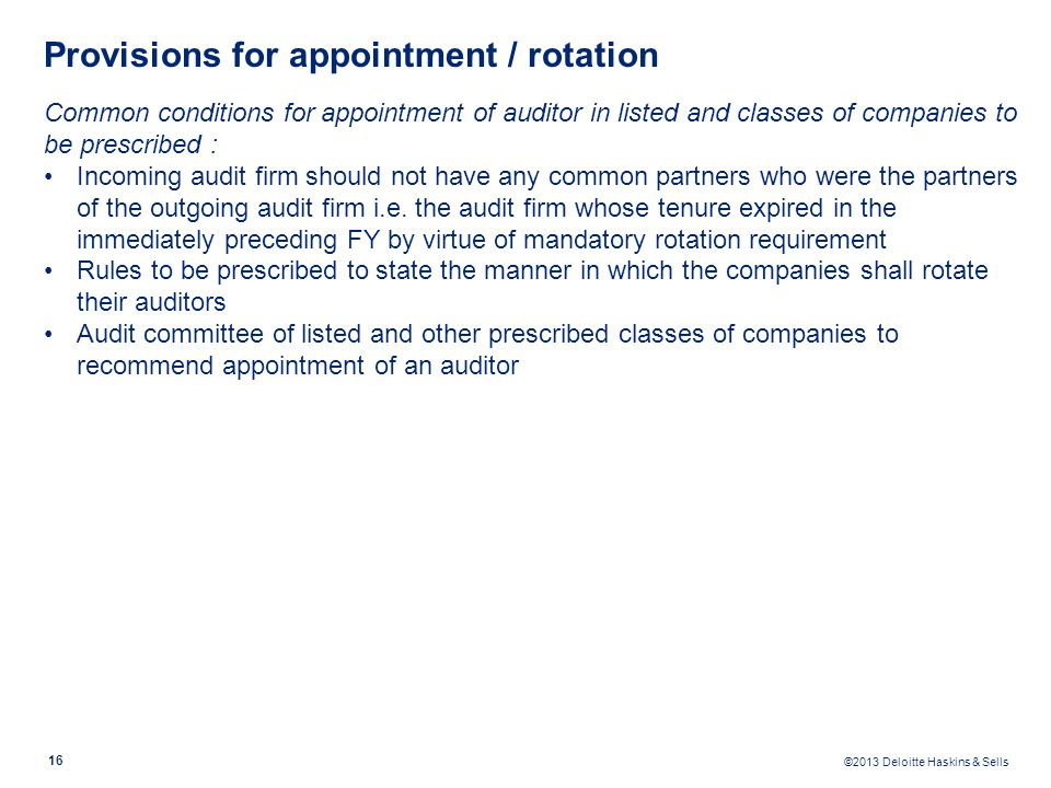 Provisions for appointment / rotation