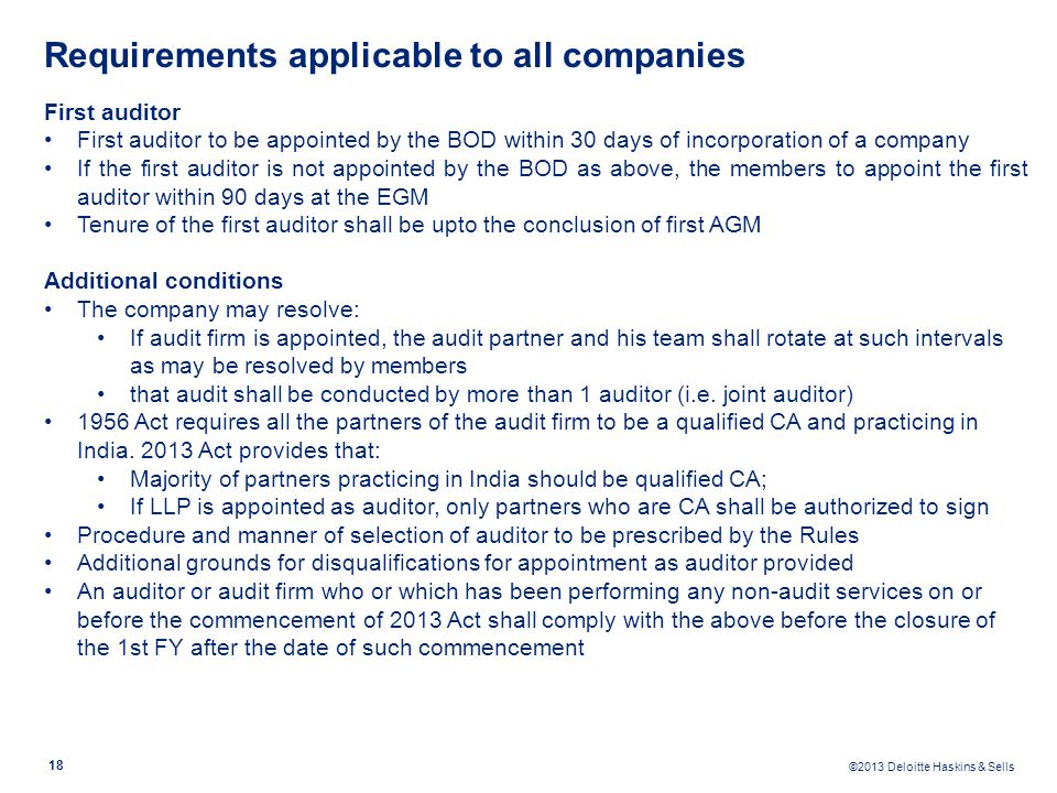 Requirements applicable to all companies