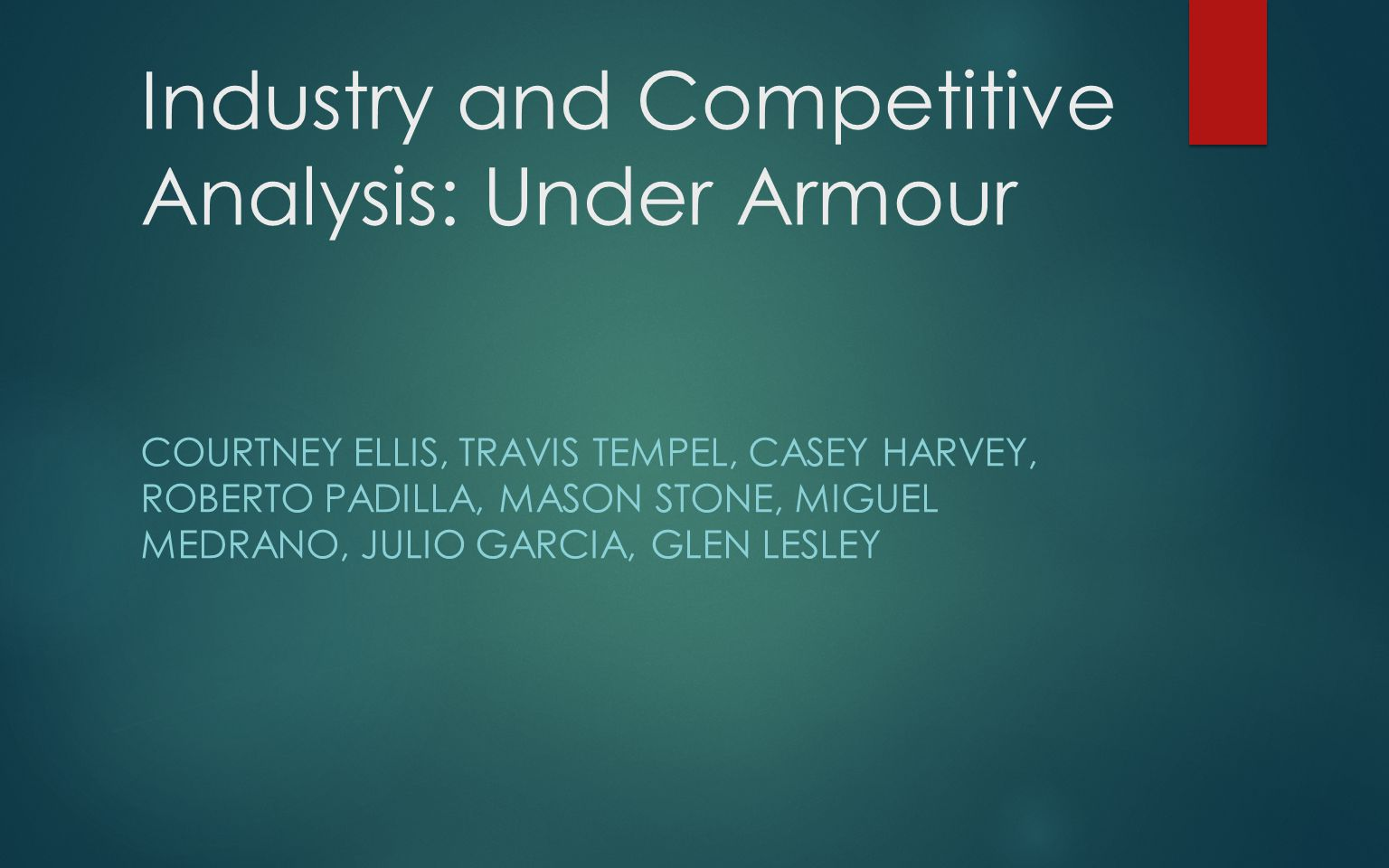 Industry and Competitive Analysis: Under Armour