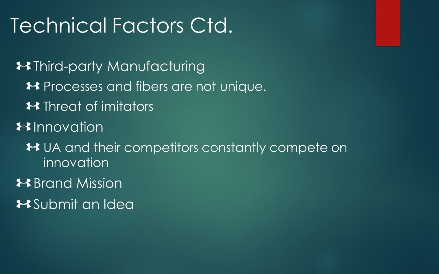 Technical Factors Ctd. Third-party Manufacturing Innovation
