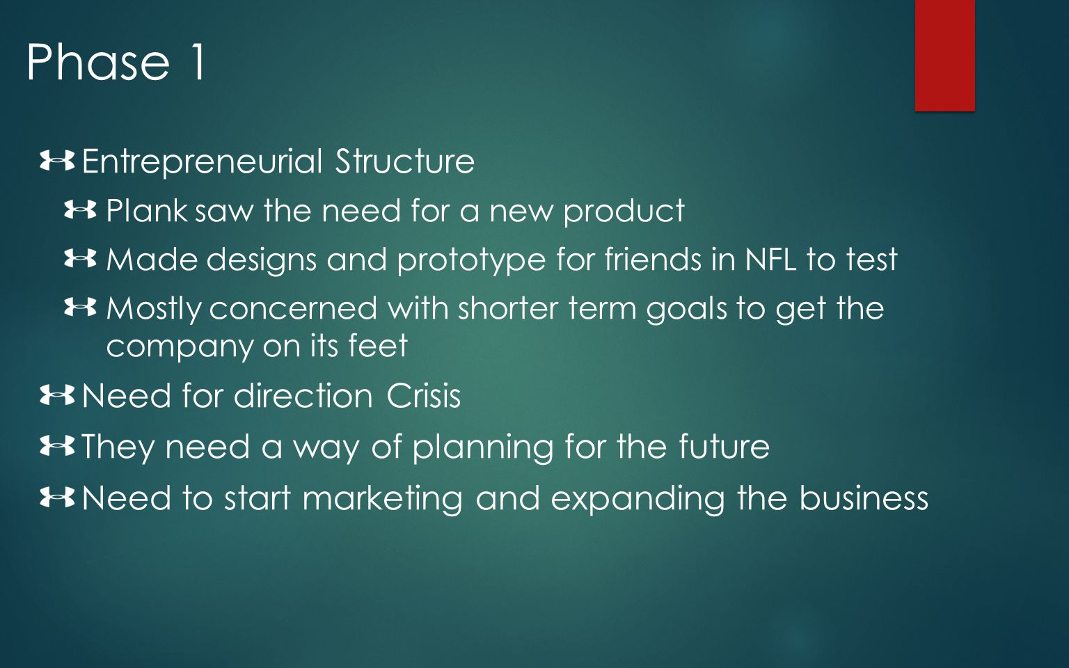 Phase 1 Entrepreneurial Structure Need for direction Crisis