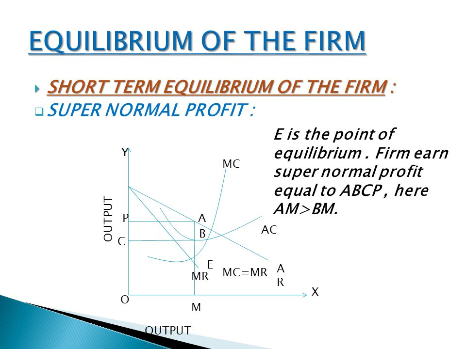 EQUILIBRIUM OF THE FIRM