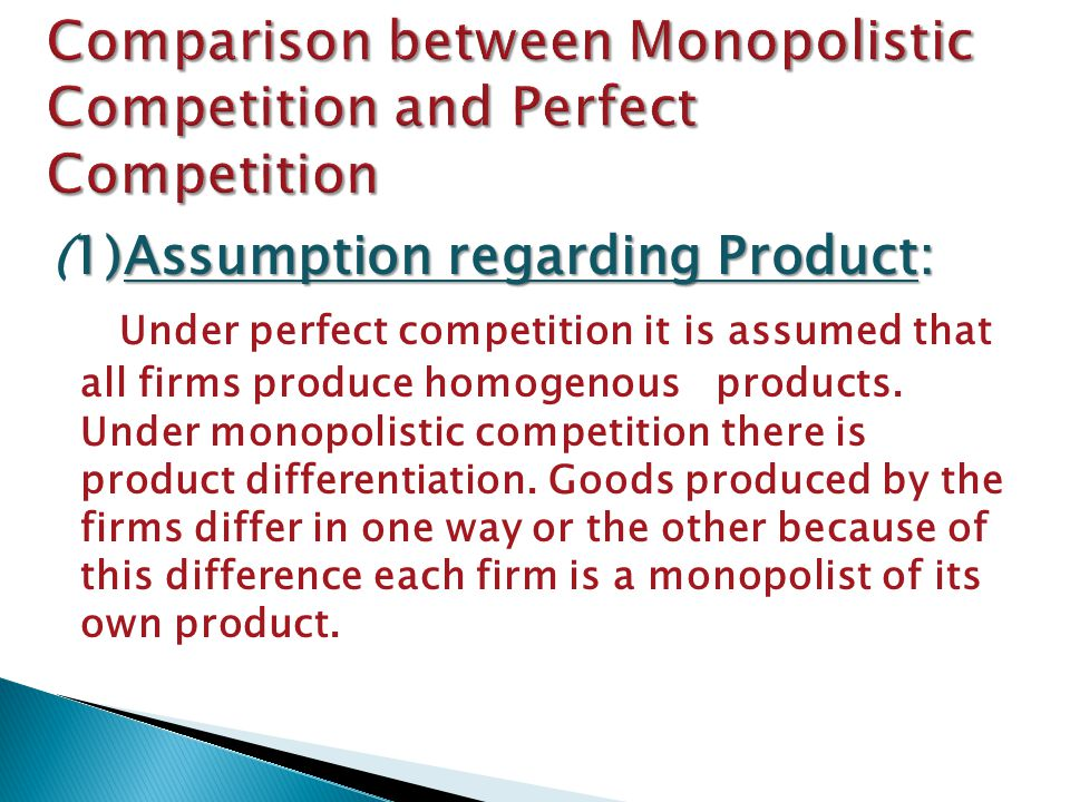 Comparison between Monopolistic Competition and Perfect Competition