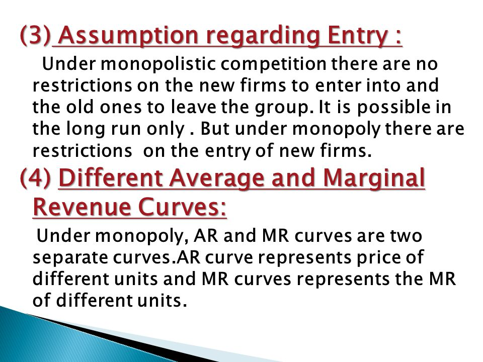 (3) Assumption regarding Entry :