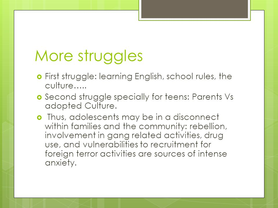 More struggles First struggle: learning English, school rules, the culture….. Second struggle specially for teens: Parents Vs adopted Culture.