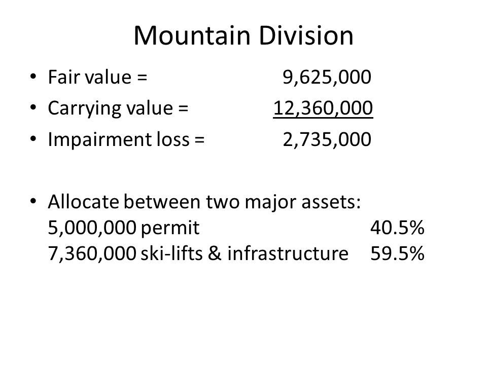 Mountain Division Fair value = 9,625,000 Carrying value = 12,360,000