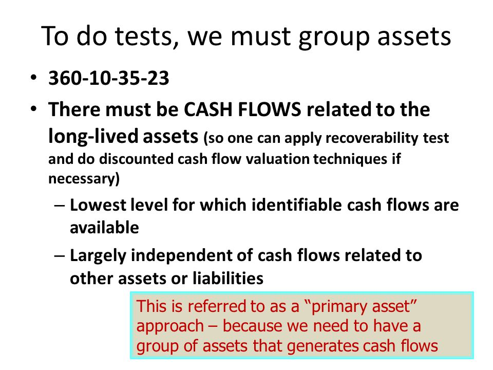 To do tests, we must group assets