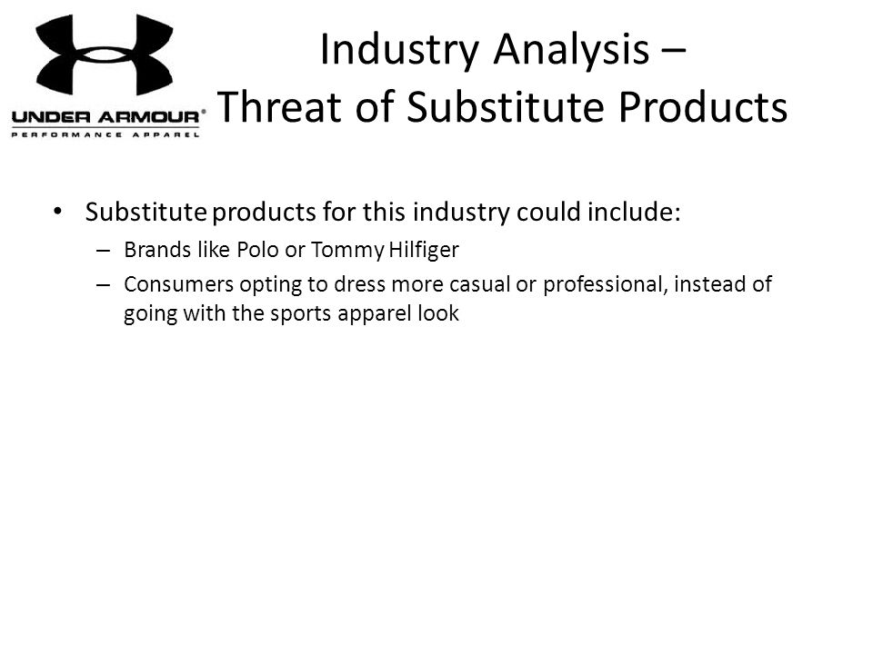 Industry Analysis – Threat of Substitute Products