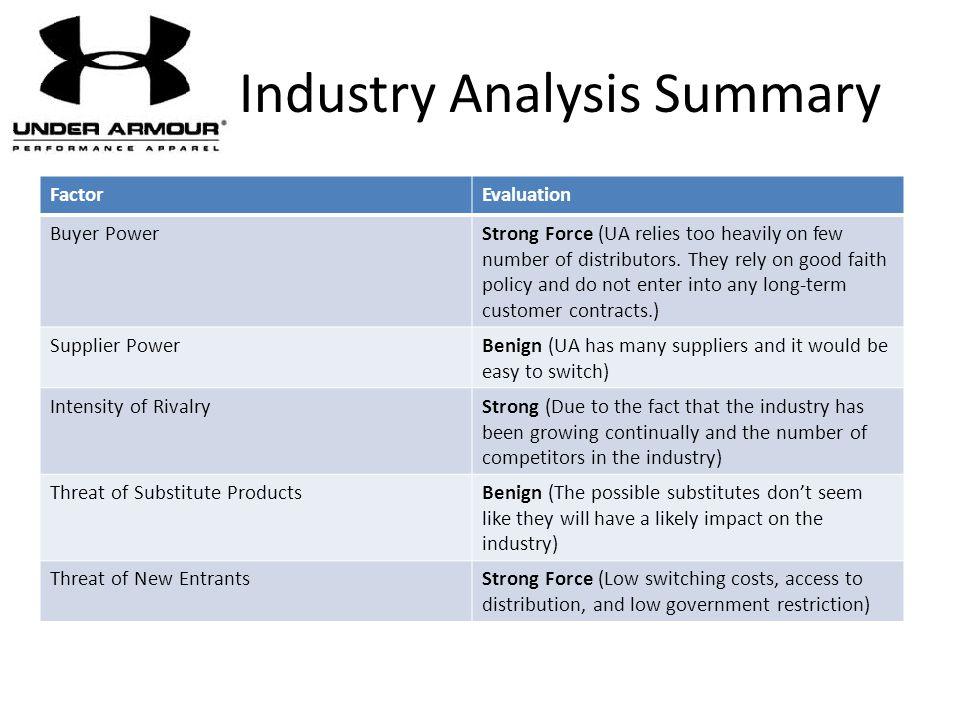 Industry Analysis Summary