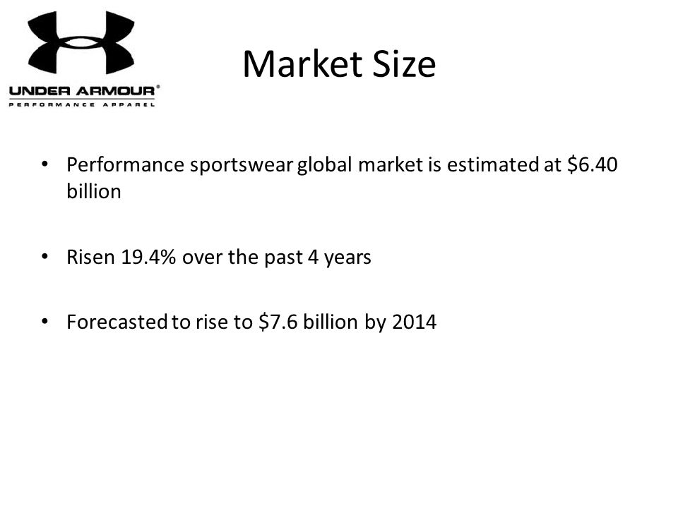 Market Size Performance sportswear global market is estimated at $6.40 billion. Risen 19.4% over the past 4 years.