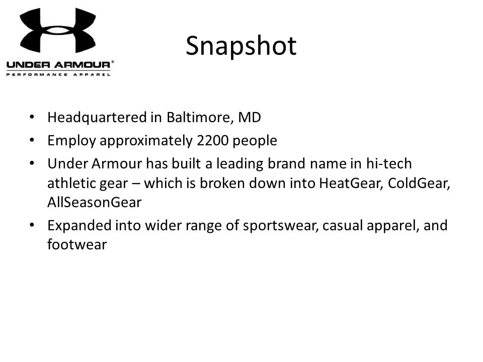 Snapshot Headquartered in Baltimore, MD