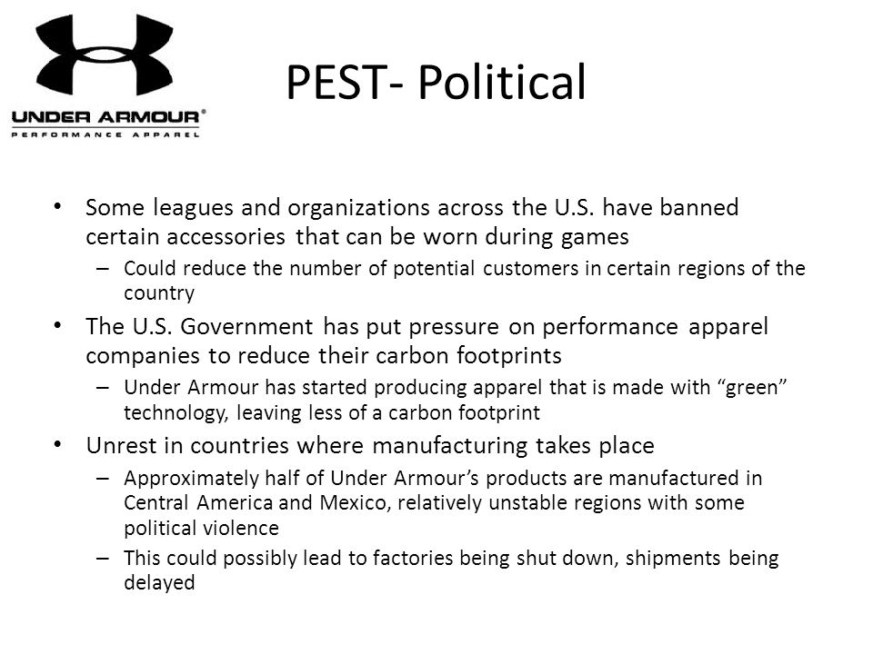 PEST- Political Some leagues and organizations across the U.S. have banned certain accessories that can be worn during games.