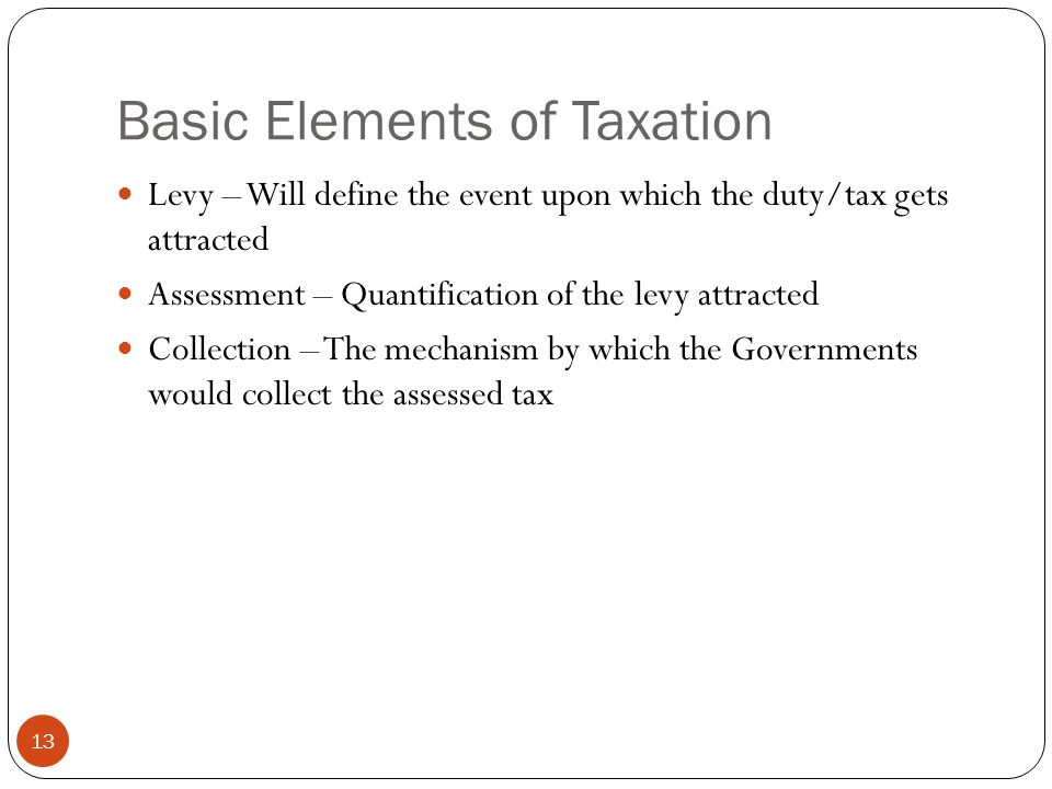 Basic Elements of Taxation