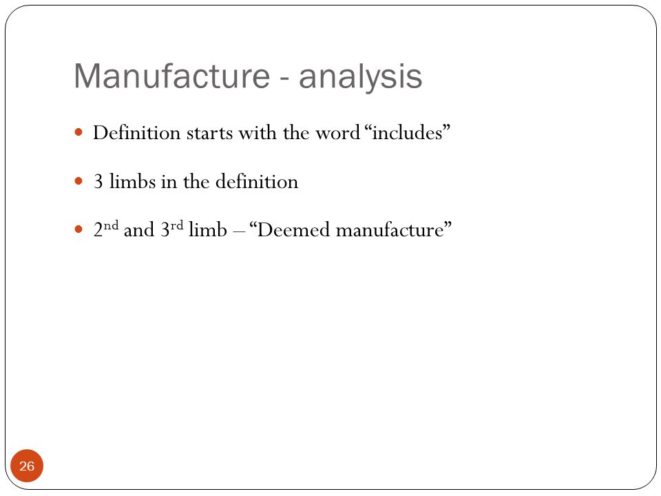 Manufacture - analysis