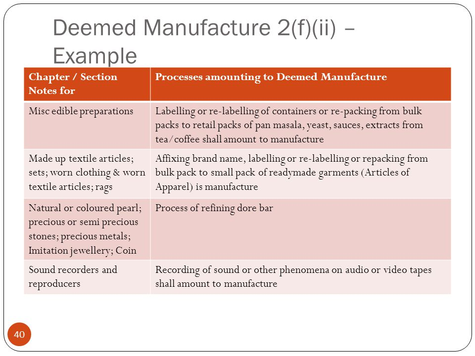 Deemed Manufacture 2(f)(ii) – Example