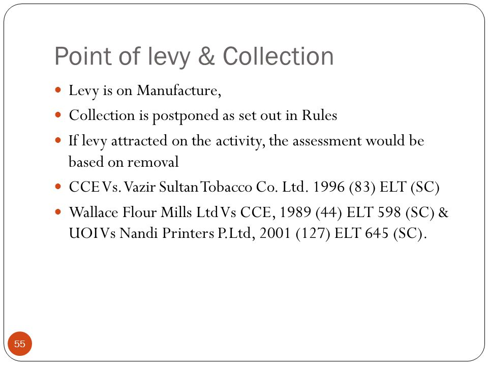 Point of levy & Collection