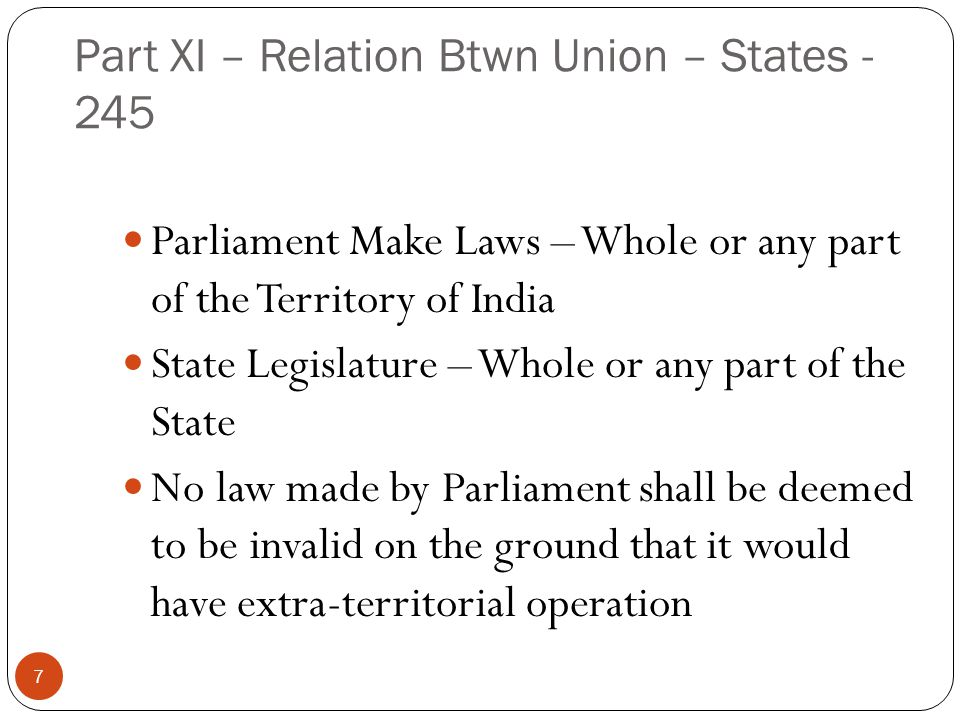 Part XI – Relation Btwn Union – States - 245