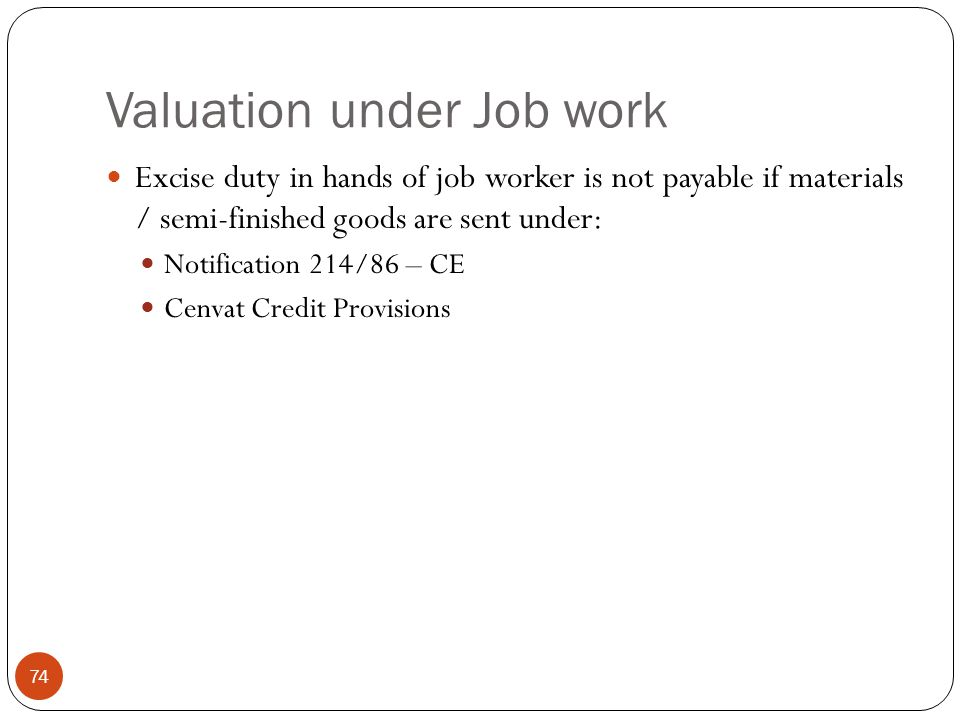 Valuation under Job work