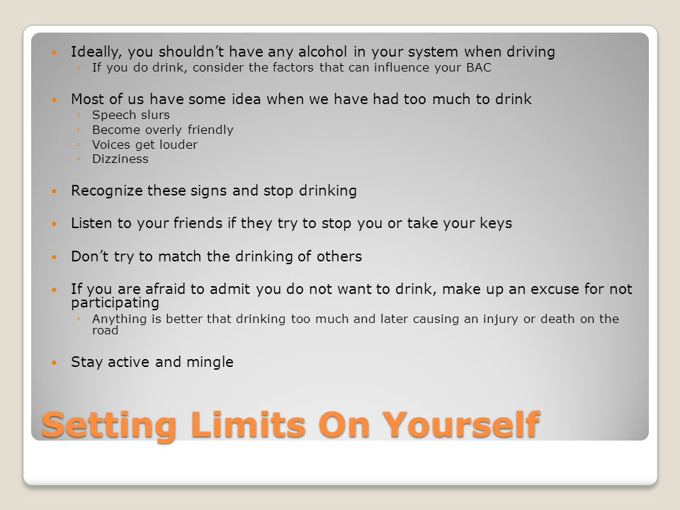Setting Limits On Yourself