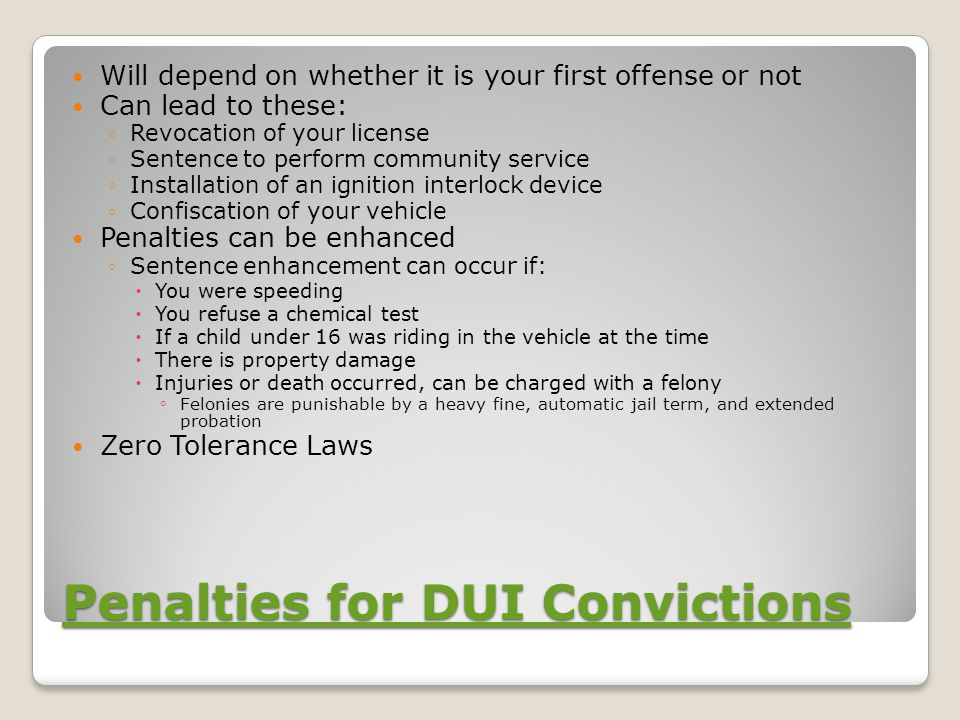 Penalties for DUI Convictions