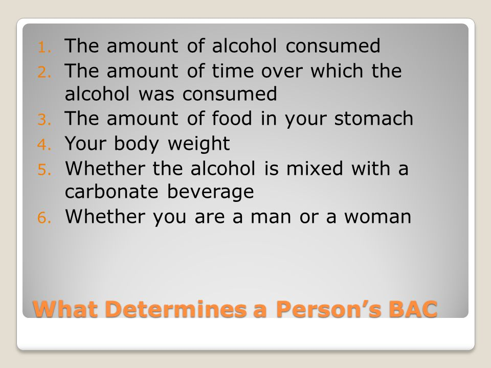 What Determines a Person's BAC