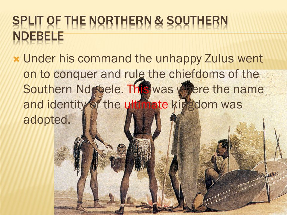 Split of the northern & southern ndebele