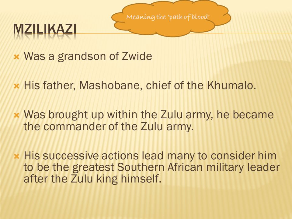 mzilikazi Was a grandson of Zwide