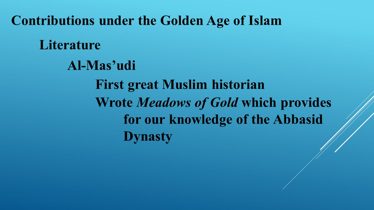 Contributions under the Golden Age of Islam