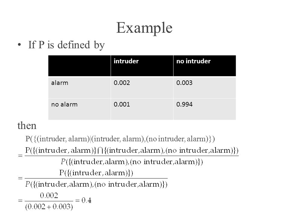 Example If P is defined by then