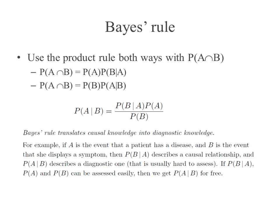 Bayes' rule Use the product rule both ways with P(AB)