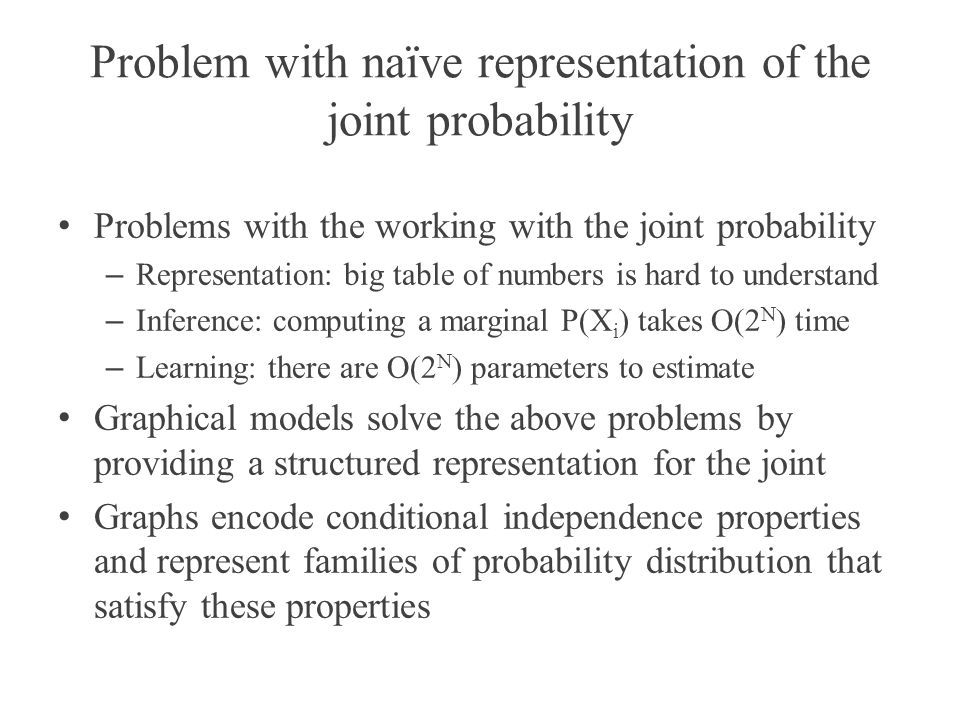 Problem with naïve representation of the joint probability