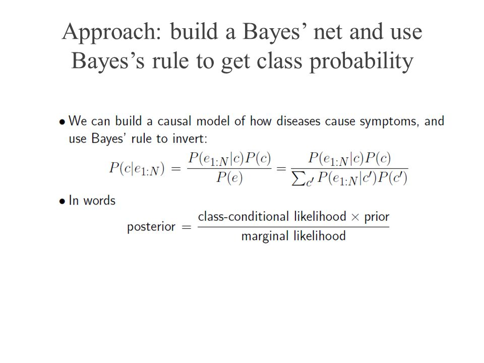Approach: build a Bayes' net and use Bayes's rule to get class probability