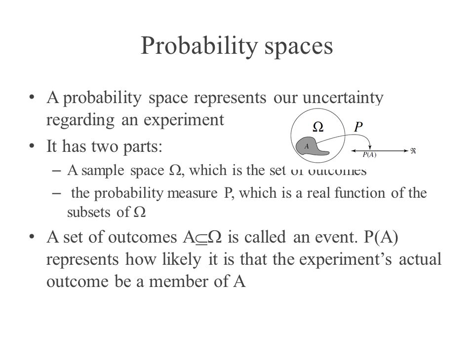 Probability spaces A probability space represents our uncertainty regarding an experiment. It has two parts: