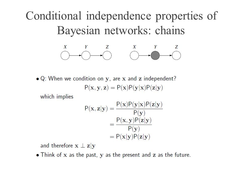 Conditional independence properties of Bayesian networks: chains