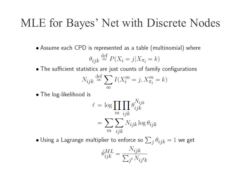 MLE for Bayes' Net with Discrete Nodes