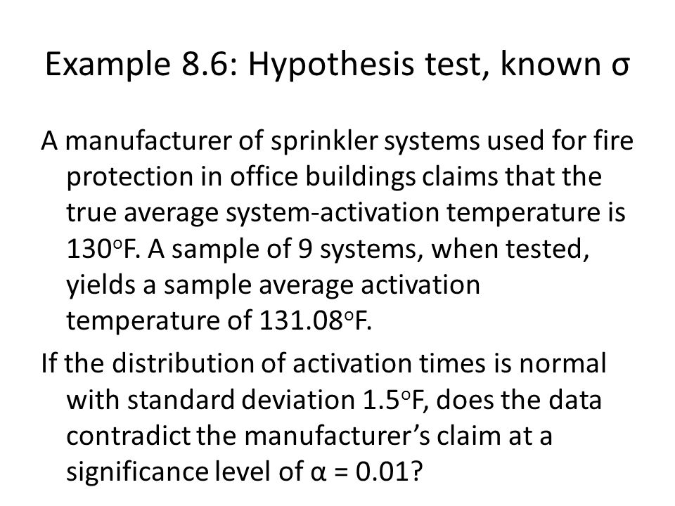 Example 8.6: Hypothesis test, known σ