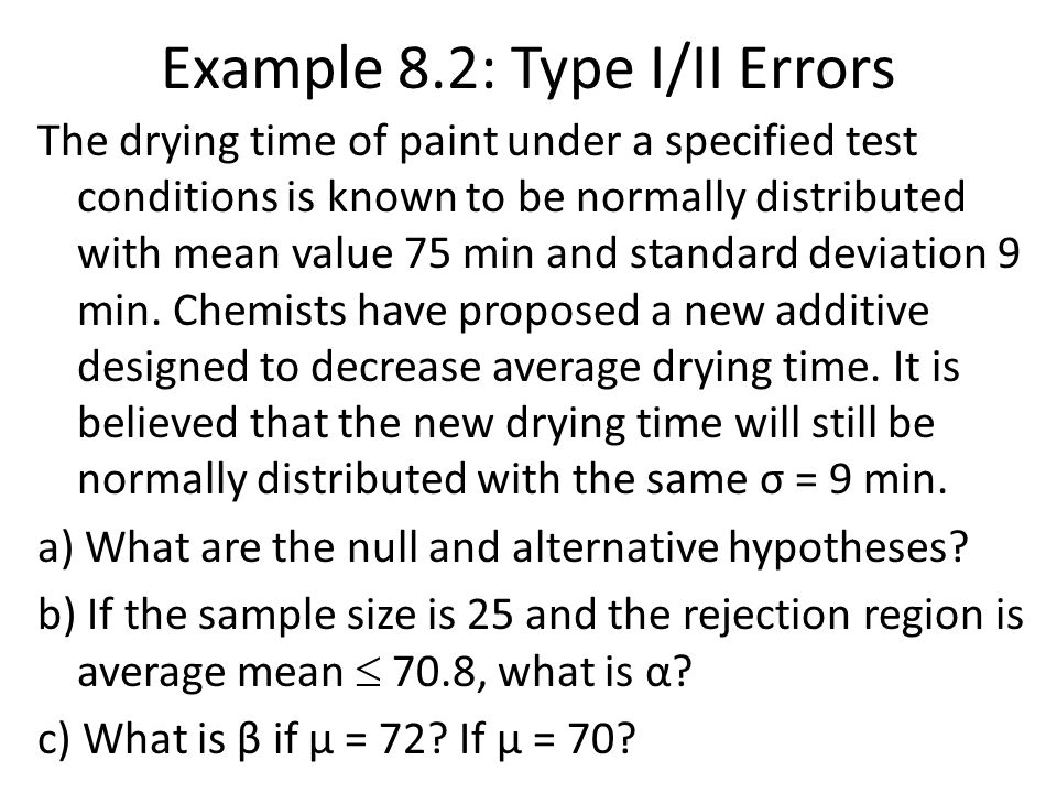 Example 8.2: Type I/II Errors