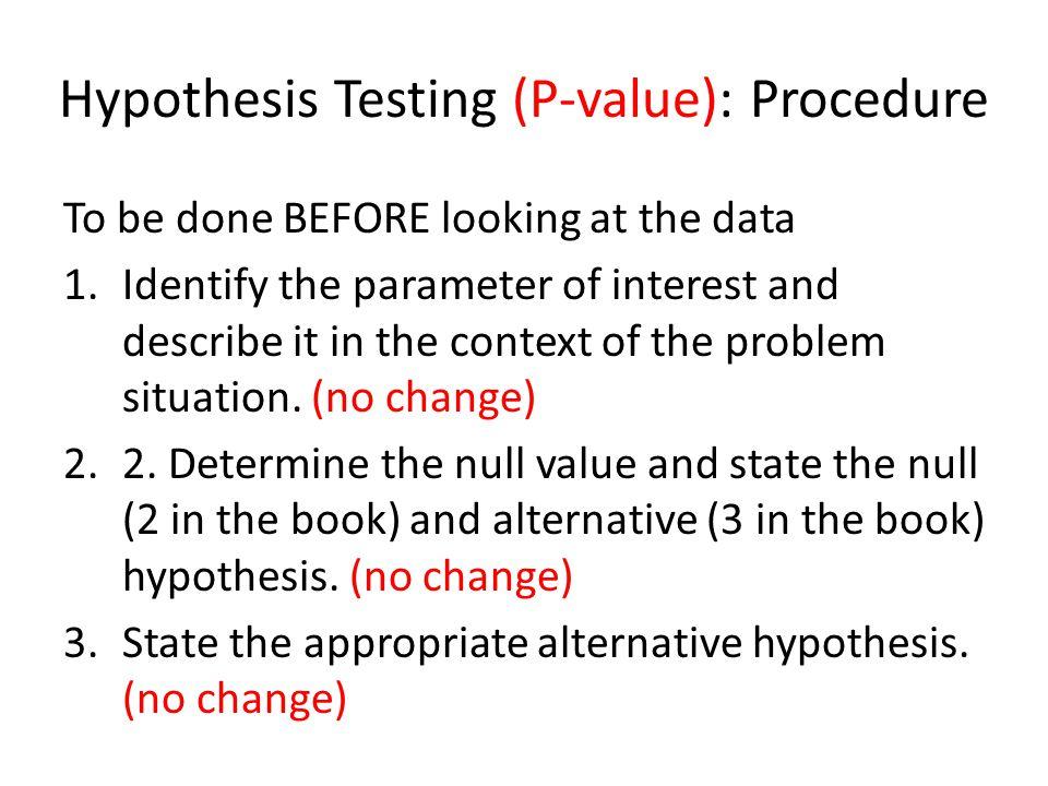 Hypothesis Testing (P-value): Procedure