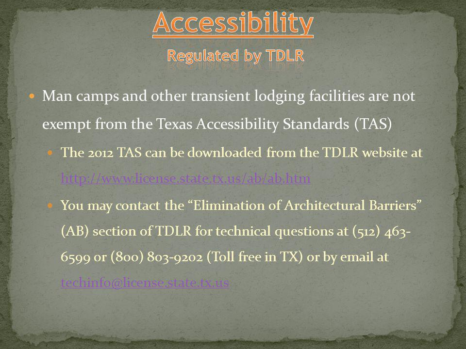 Accessibility Regulated by TDLR