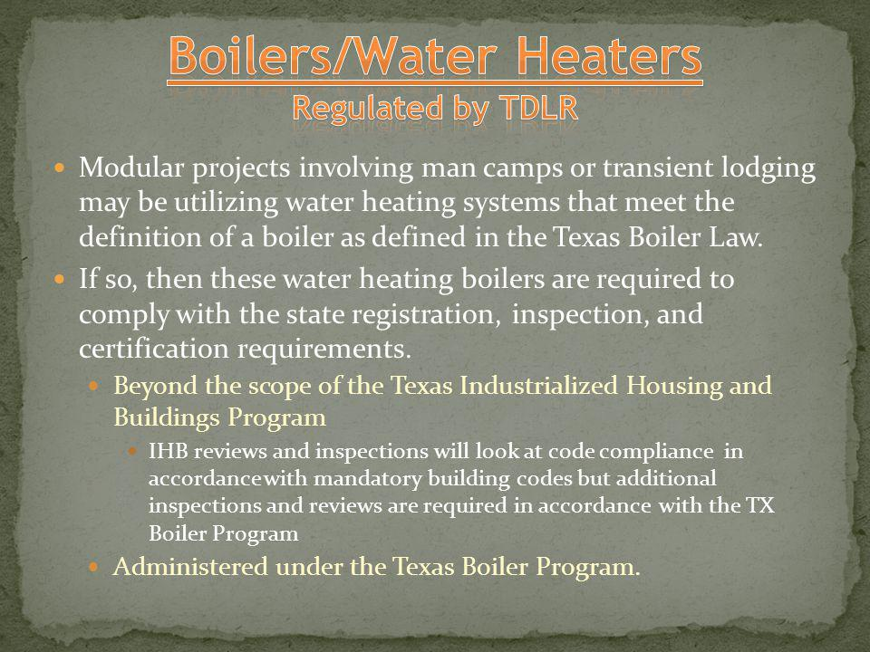 Boilers/Water Heaters Regulated by TDLR