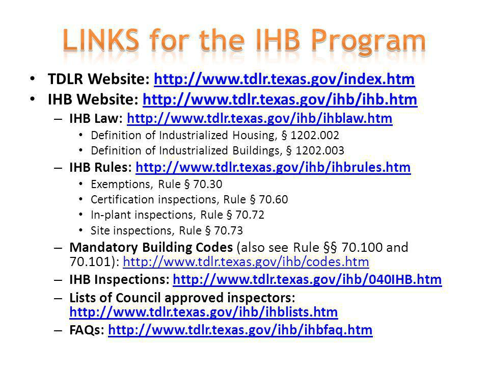 LINKS for the IHB Program