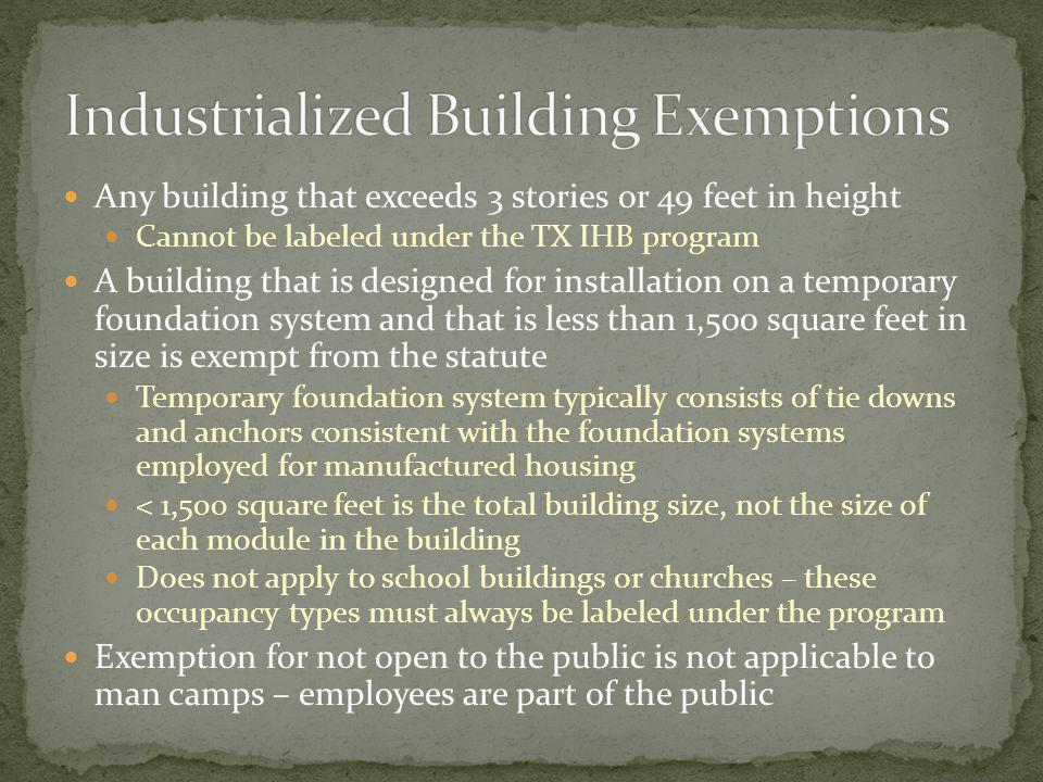 Industrialized Building Exemptions