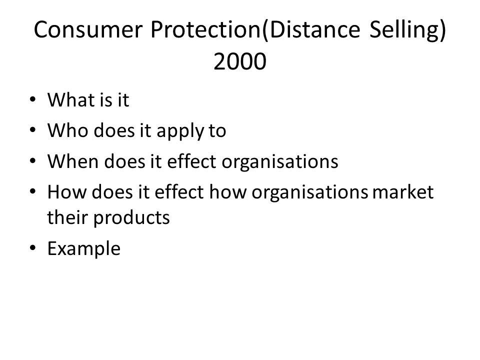 Consumer Protection(Distance Selling) 2000